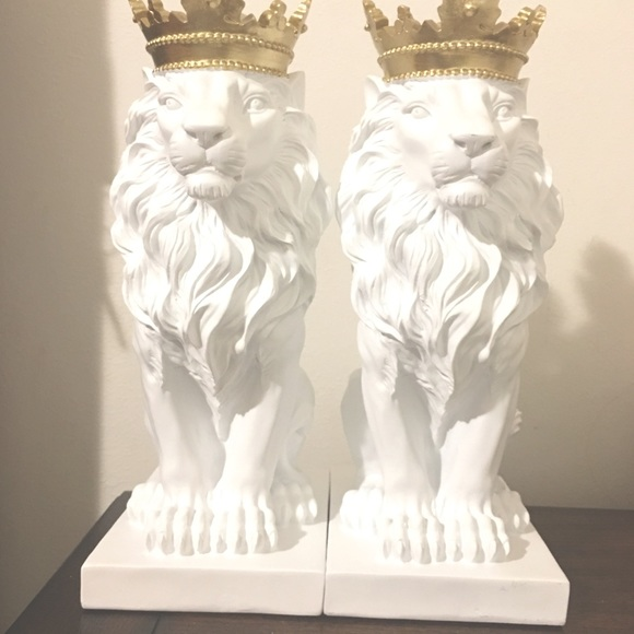 Lion Statues with Gold Crowns